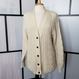 Karen Scott oversized cream cableknit cardigan